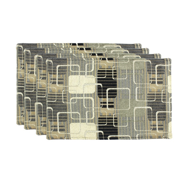 Ghery Onyx-PS Oyster Geometric Placemats (Set of 4)