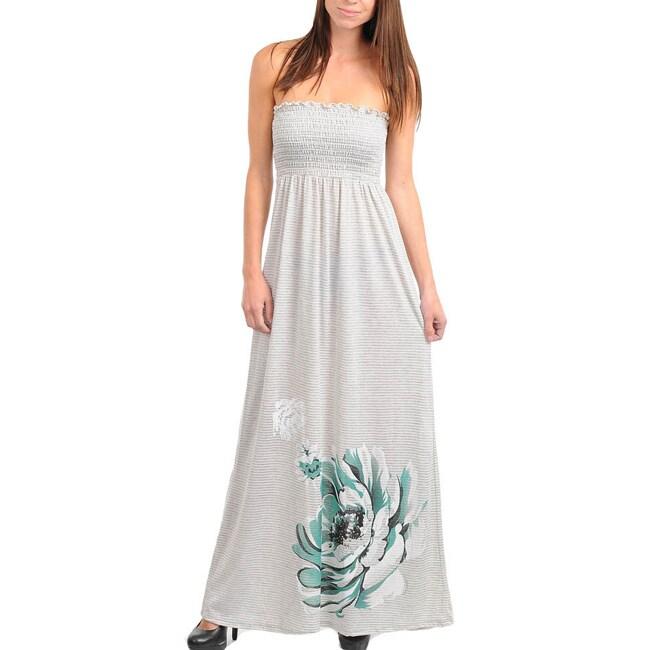 Stanzino Women's Gray Strapless Maxi Dress with Flower Print