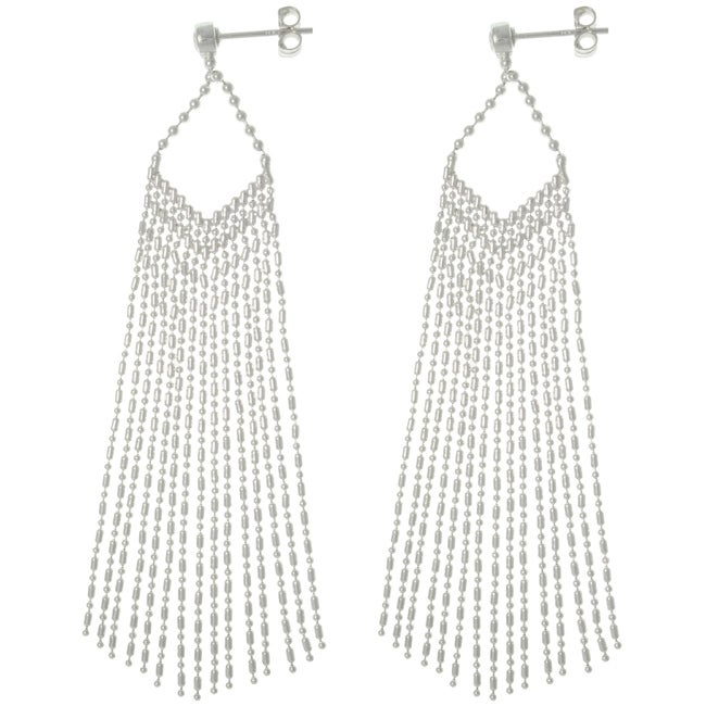 Carolina Glamour Collection Sterling Silver Chic Chain Fringe Dangle Earrings