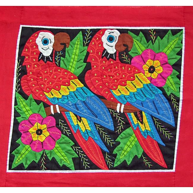 Macaws and Flowers Tapestry (Panama)
