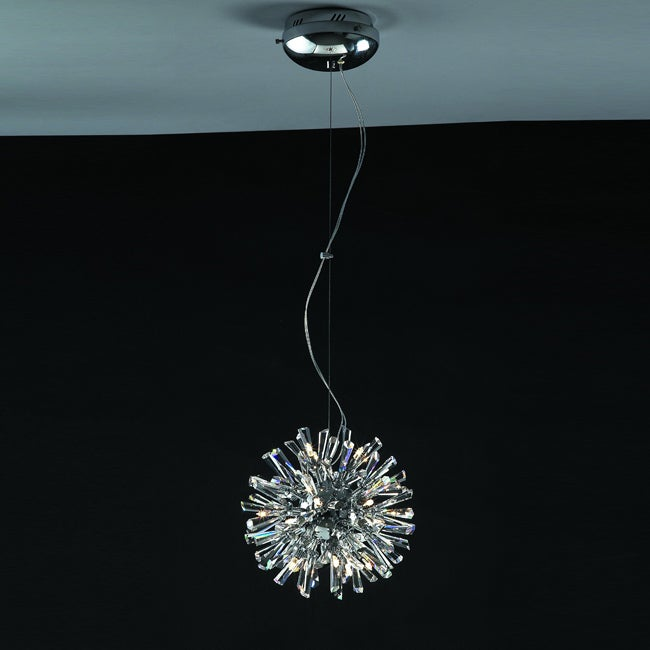 Joshua Marshal Home Collection Modern 15-light Chrome Crystal Burst Adjustable Hanging Pendant - Thumbnail 0