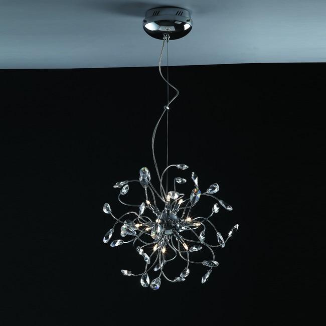 Joshua Marshal Home Collection Modern 12-light Chrome Crystal Adjustable Hanging Pendant