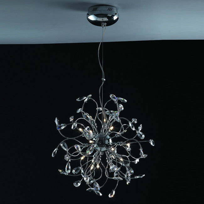 Joshua Marshal Home Collection Modern 18-light Chrome Crystal Encompassed Adjustable Hanging Pendant - Thumbnail 0