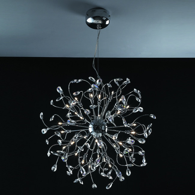Joshua Marshal Home Collection Modern 48-light Chrome Crystal Encompassed Adjustable Hanging Pendant