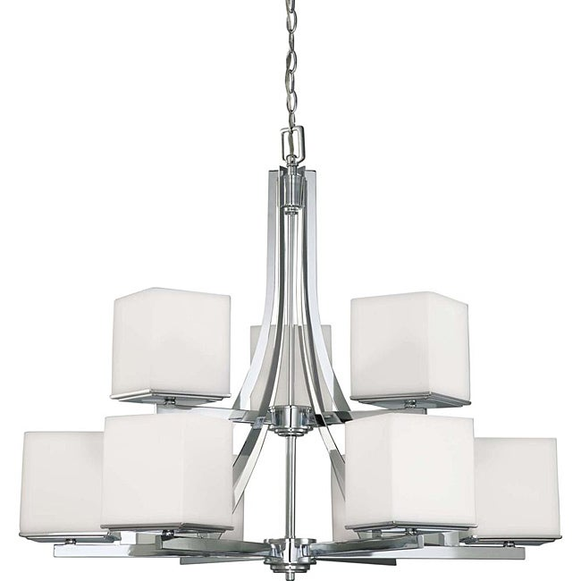 Bento Chrome with Satin White 9-light Two-tier Chandelier - Thumbnail 0