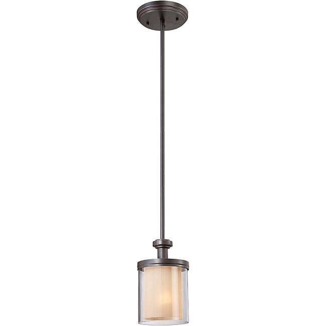 Decker Bronze with Clear/ Cream 1-light Mini Pendant - Thumbnail 0