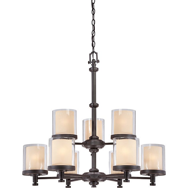 Decker Bronze with Clear/ Cream 9-light Chandelier