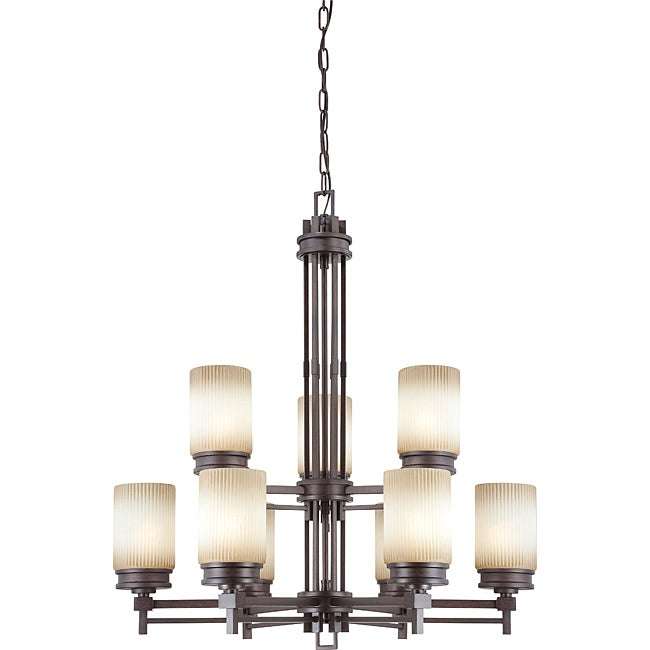 Wright Bronze with Amaretto Glass 9-light Chandelier