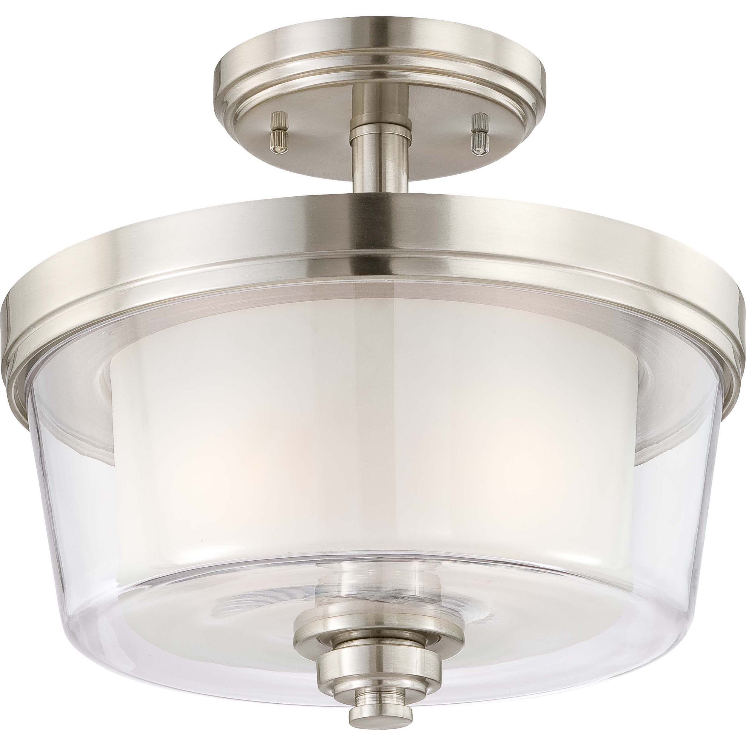 Decker Nickel and Frosted 2-Light Semi Flush Fixture