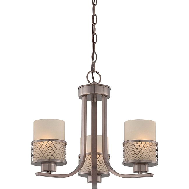 Fusion Bronze and Russet Glass 3-Light Chandelier