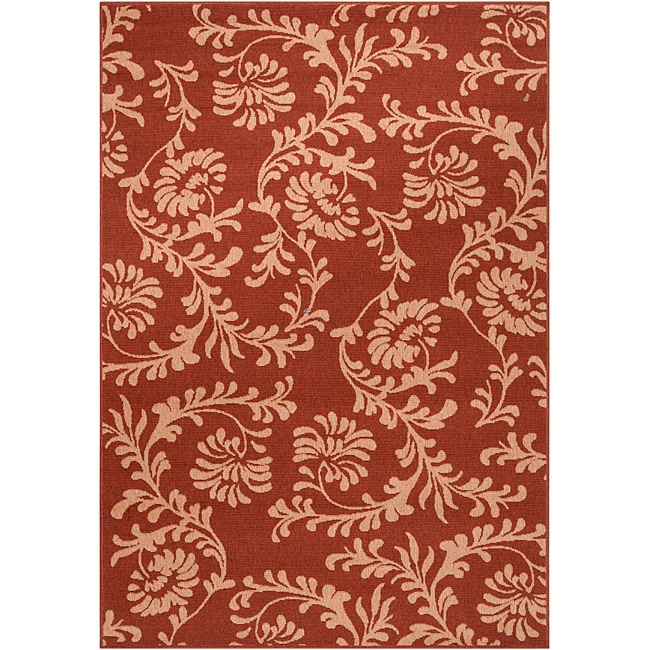 Parma Russet Floral Indoor/Outdoor Rug (7'6 x 10'9) - Thumbnail 0