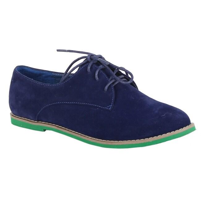 XICA by Beston Women's 'Joe-01' Blue/ Green Oxfords - Blue