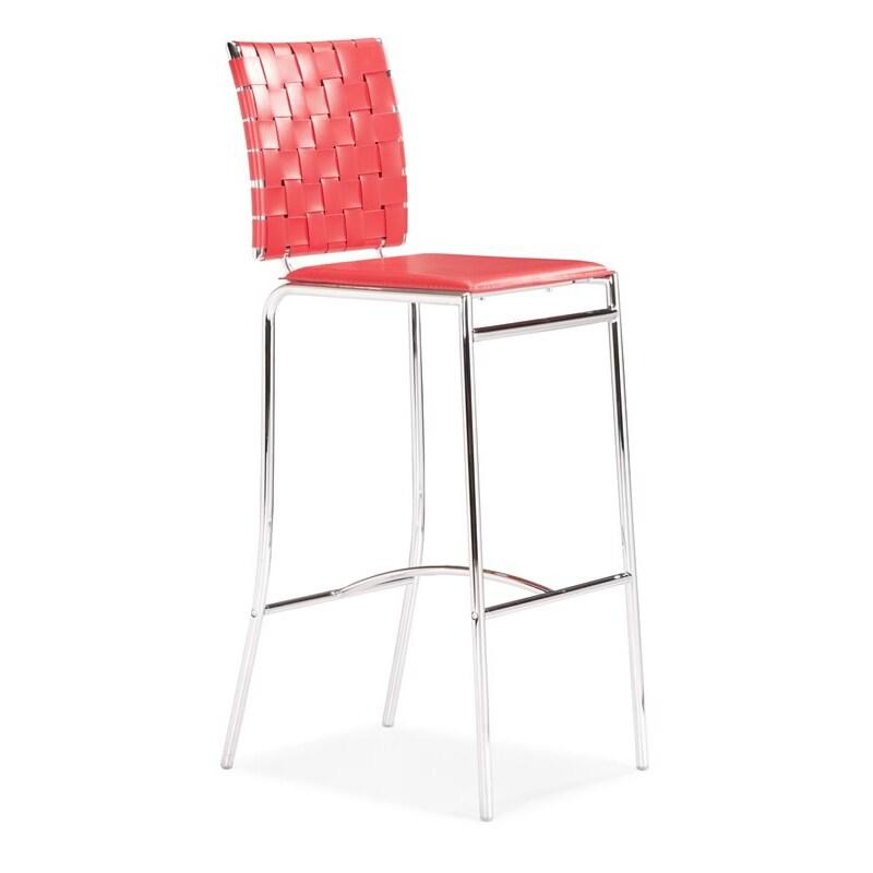 Criss Cross Red Bar Chair (Set of 2)
