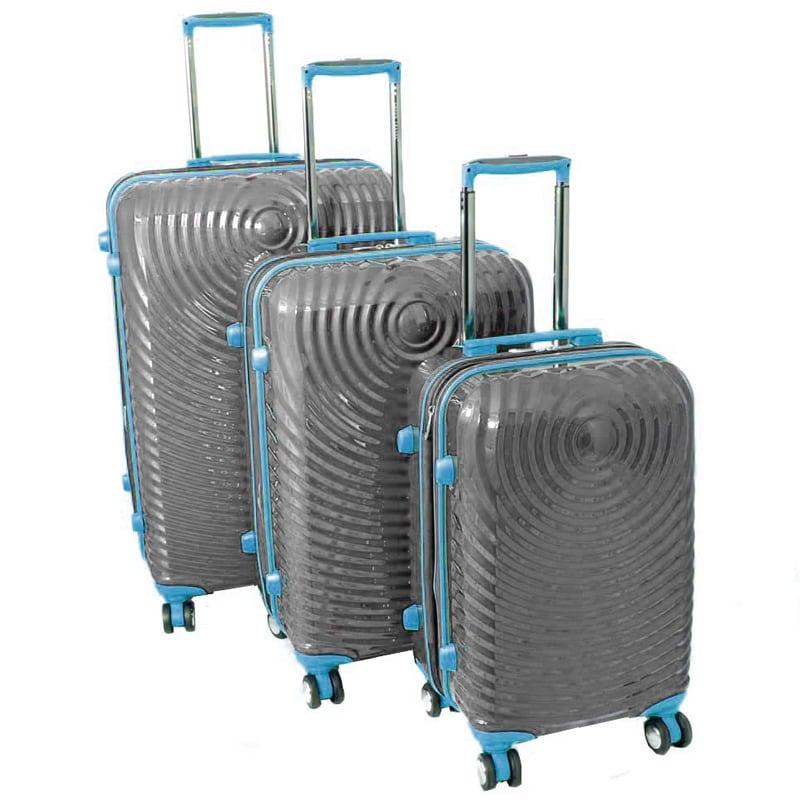 American Vertigo Silver 3-piece Lightweight Expandable Hardside Spinner Luggage Set With TSA Lock