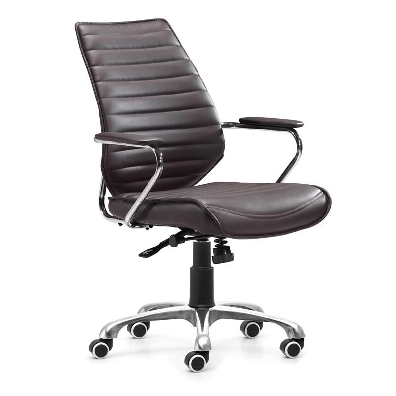 Zuo Enterprise Espresso Low Back Leatherette Office Chair