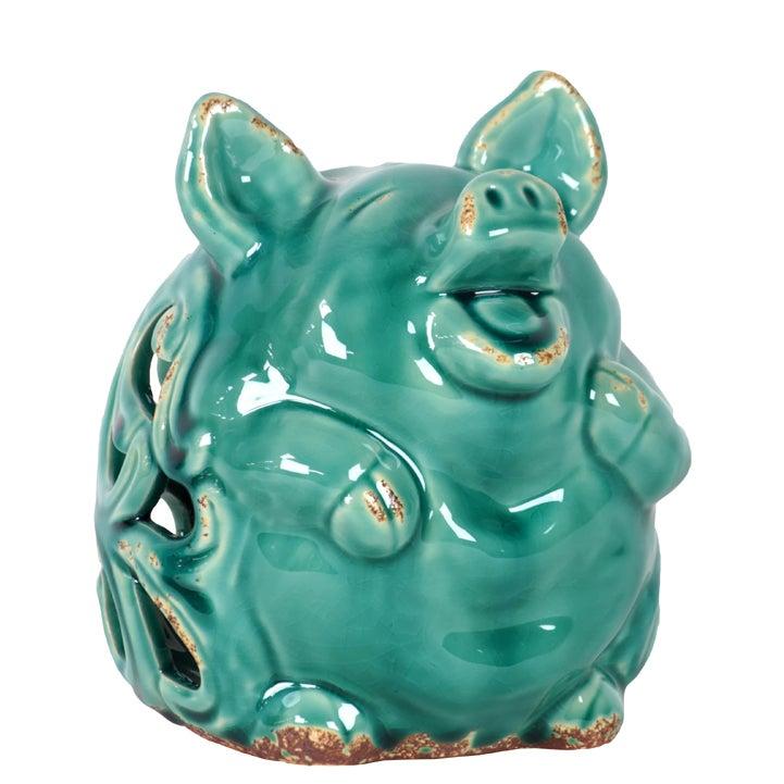 Blue Ceramic Pig