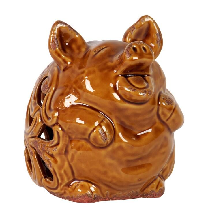 Brown Ceramic Pig