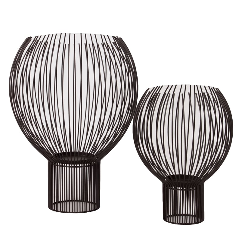 Metal Abstract Candle Holder Set of Two