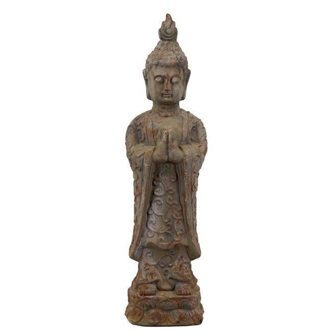 Urban Trend Antique Finish Standing Buddha Cement Sculpture