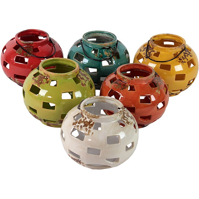 Urban Trend Assortment Tee Light Lanterns Ceramic Garden Accent (Pack of 6)