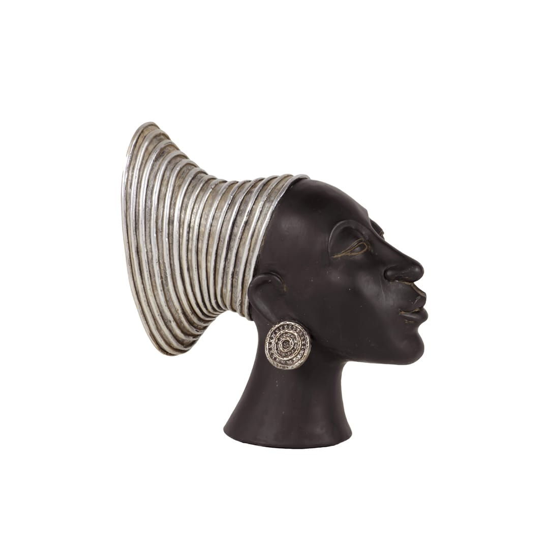 Black Resin African Lady's Head - Thumbnail 0
