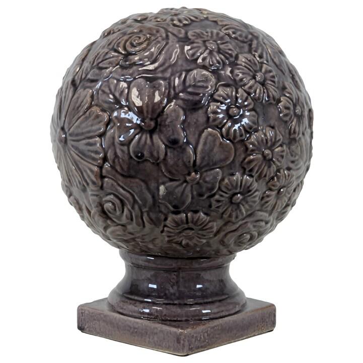 Large Purple Ceramic Flower Globe on Pedestal