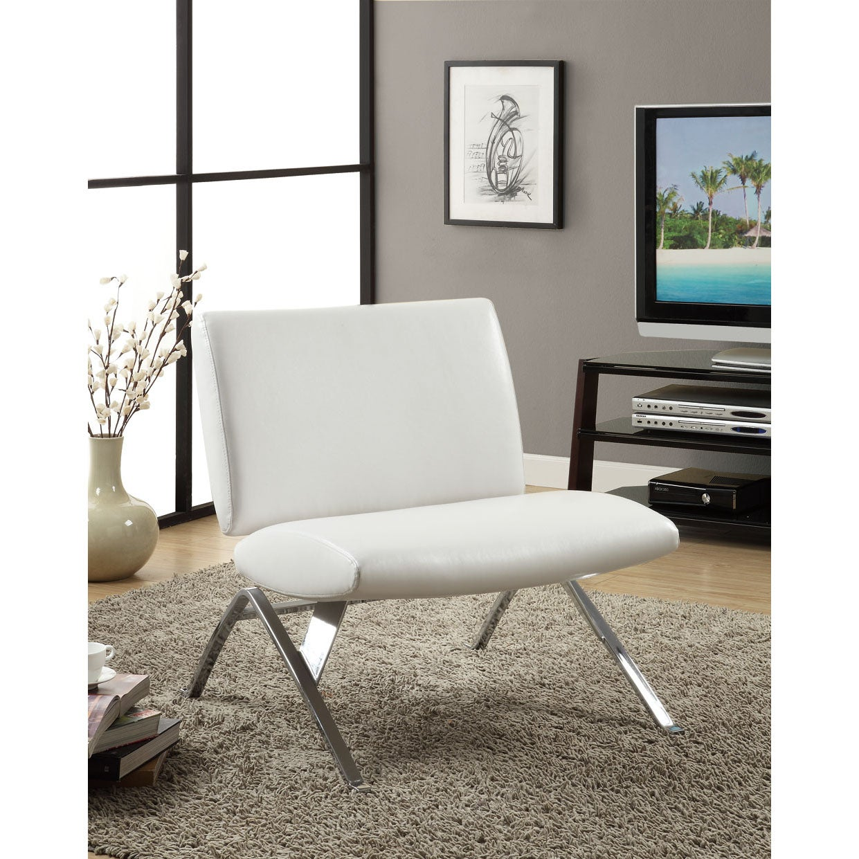 Home Chair: White Leather-Look / Chrome Metal Modern Accent Chair
