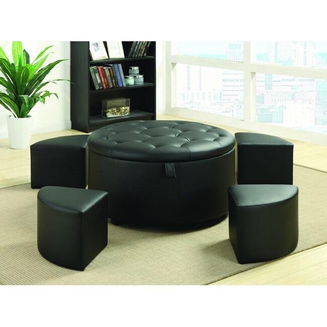 Black Bonded Leather Tufted Round Storage Bench Ottoman 5-piece Set