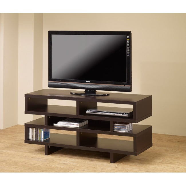 Cappuccino 48 inch plasma tv lcd stand media console free shipping today - Tv stands small spaces ideas ...