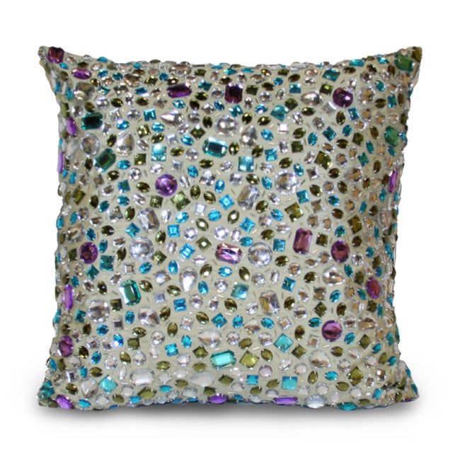 Peacock Gemstone 14x14-inch Pillow