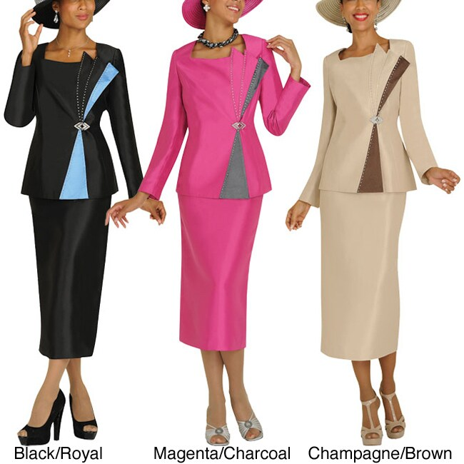 Divine Apparel Two Tone Off Centered Womens Skirt Suit