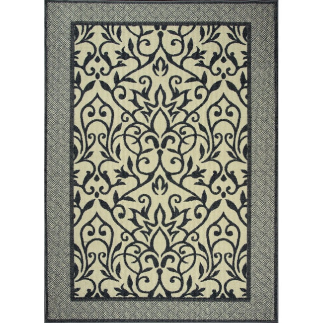 Somette Endless Love Grey Indoor/Outdoor area Rug (5'x7')