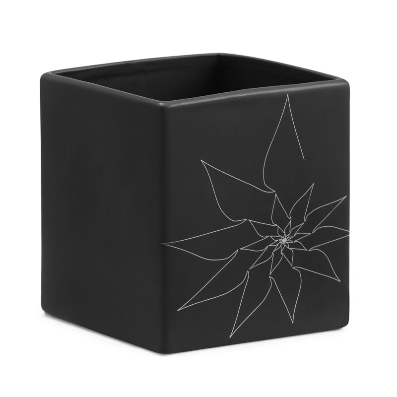 Brenda Black Square Vase