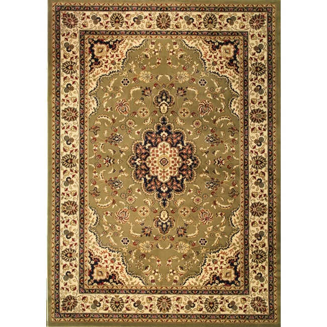 Well Woven Medallion Traditional Green Rug (9'3 x 12'6), ...