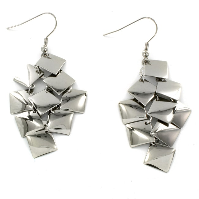 West Coast Jewelry Stainless Steel Dangle Squares Earrings