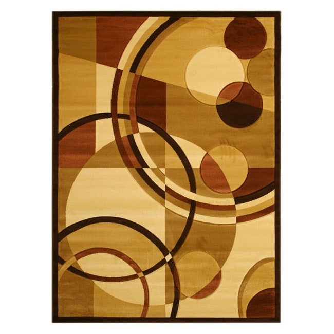 Hand Carved Brown Cubist Rug (7'10 x 9'10)