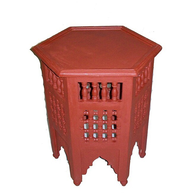 Burgundy Hand-Painted Arabesque Wooden End Table (Morocco)