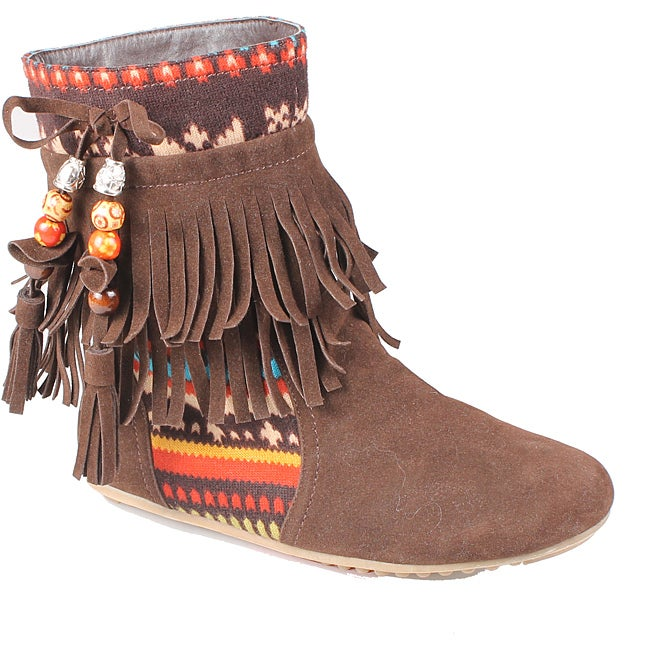 Refresh by Beston Women's 'Mini-03' Brown Fringe Boots