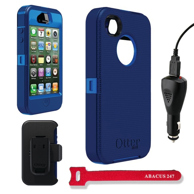 OtterBox Defender Night Blue Protective Case and Holster for iPhone 4/4S With 2000mAh Car Charger & Velcro Tie - Thumbnail 0