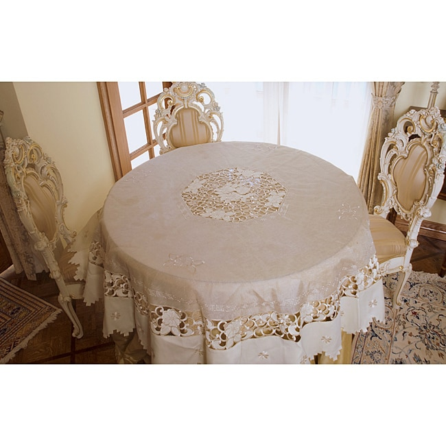 Shop Tan Embroidered And Cutwork 72 Inch Round Tablecloth