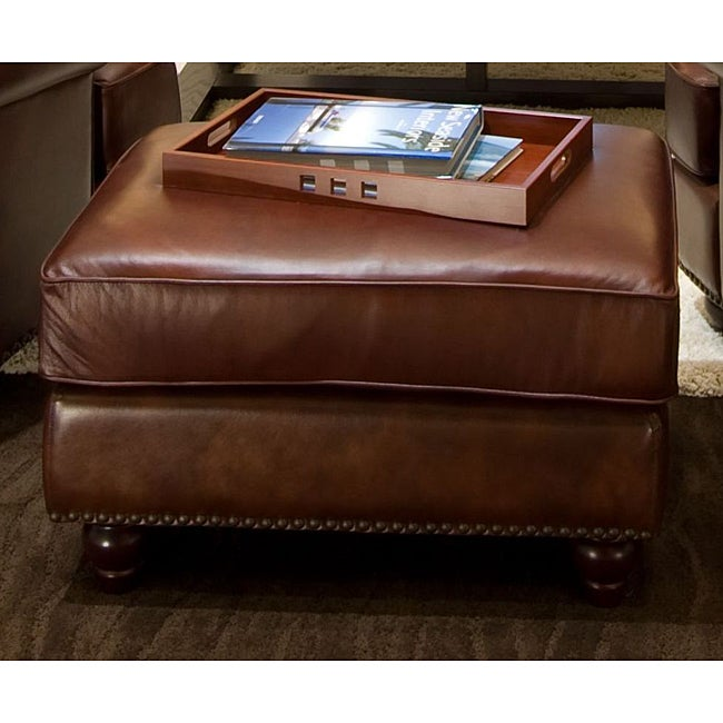 Elements Fine Home Furnishings Mansfield Top Grain Leather Standard Ottoman
