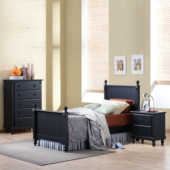 Macedonia Black 3-Piece Twin Bed Bedroom Set