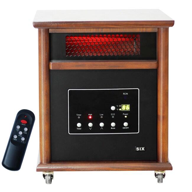 Lifesmart Power Plus Infrared Quartz Heater with Dark Wood Cabinet