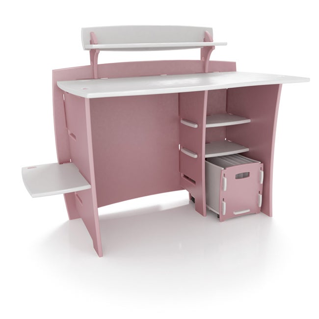 Legare Kids' 43-inch Pink/ White Desk with File Cart
