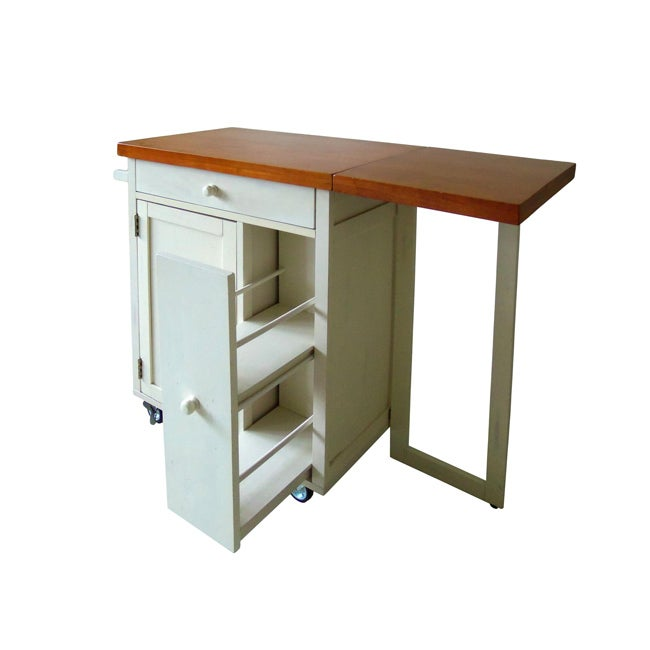 Roots Rack Industrial Kitchen Cart: Butcher Block Kitchen Cart With Spice Rack