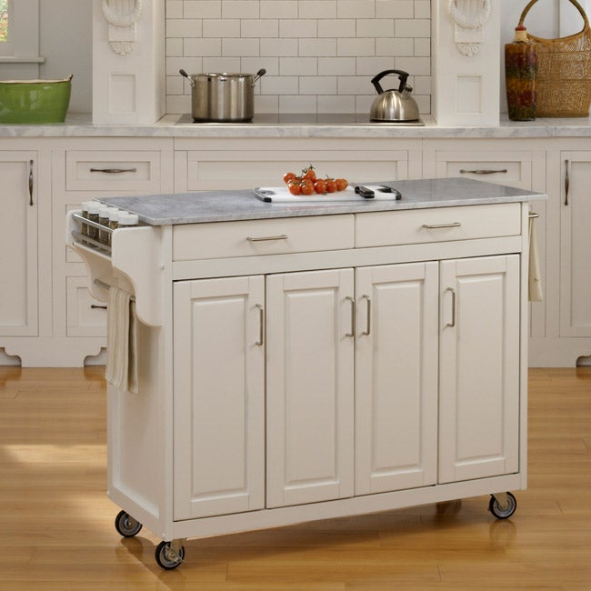 Create-a-Cart White Finish with Marble Top - Thumbnail 0