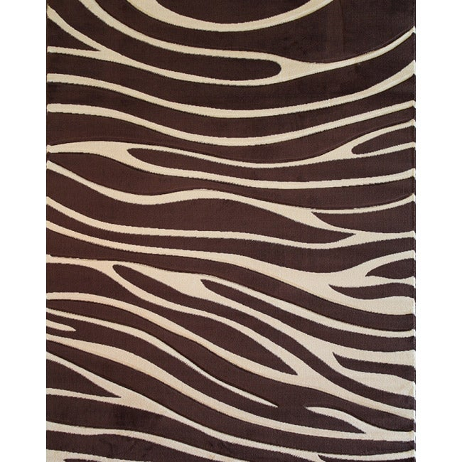 Hand-Carved Zebra Brown Transitional Plush Pile Area Rug (5'3 x 7'1)