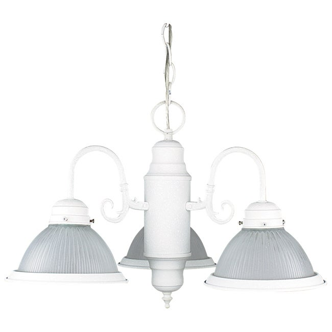 Three Light Textured White Chandelier