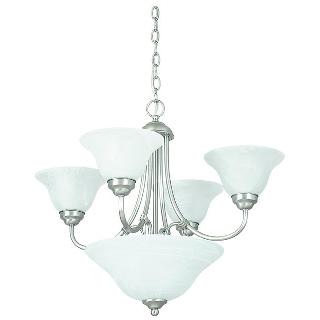 Six Light Satin Nickel Chandelier with Bowl