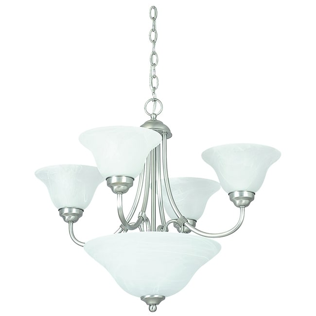 Six Light Satin Nickel Chandelier with Bowl - Thumbnail 0